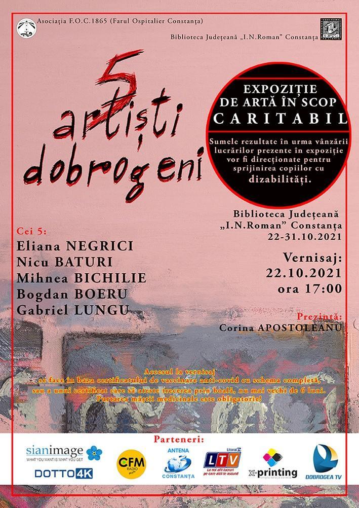 """Expoziție caritabilă de artă """"5 artiști dobrogeni"""" - Vernisaj 22 octombrie"""