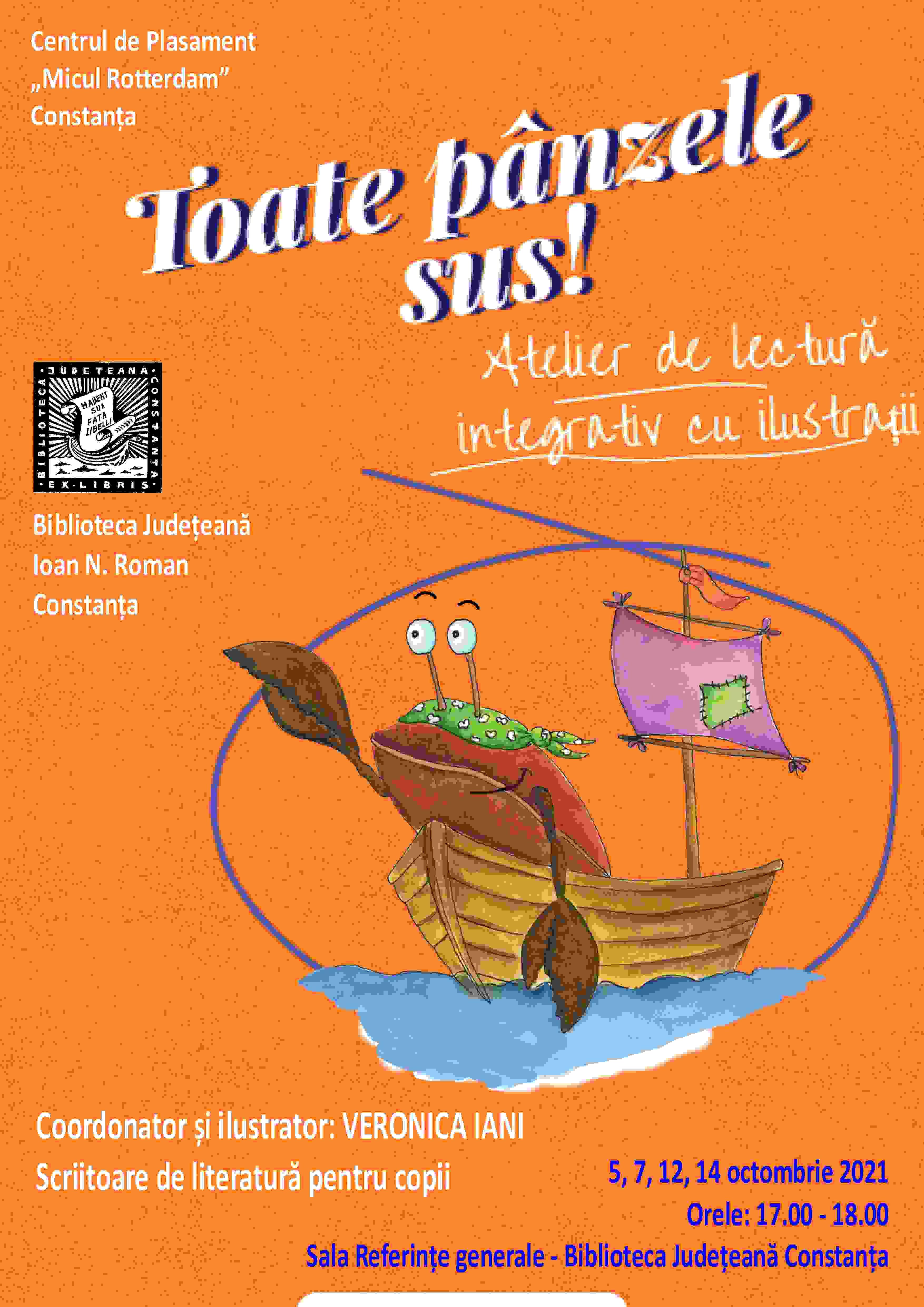"""Atelier de lectură """"Toate pânzele sus!"""" - 5, 7, 12, 14 octombrie"""