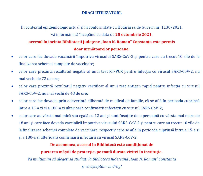 "Restricții acces în incinta Bibliotecii Județene ""Ioan N. Roman"" Constanța"