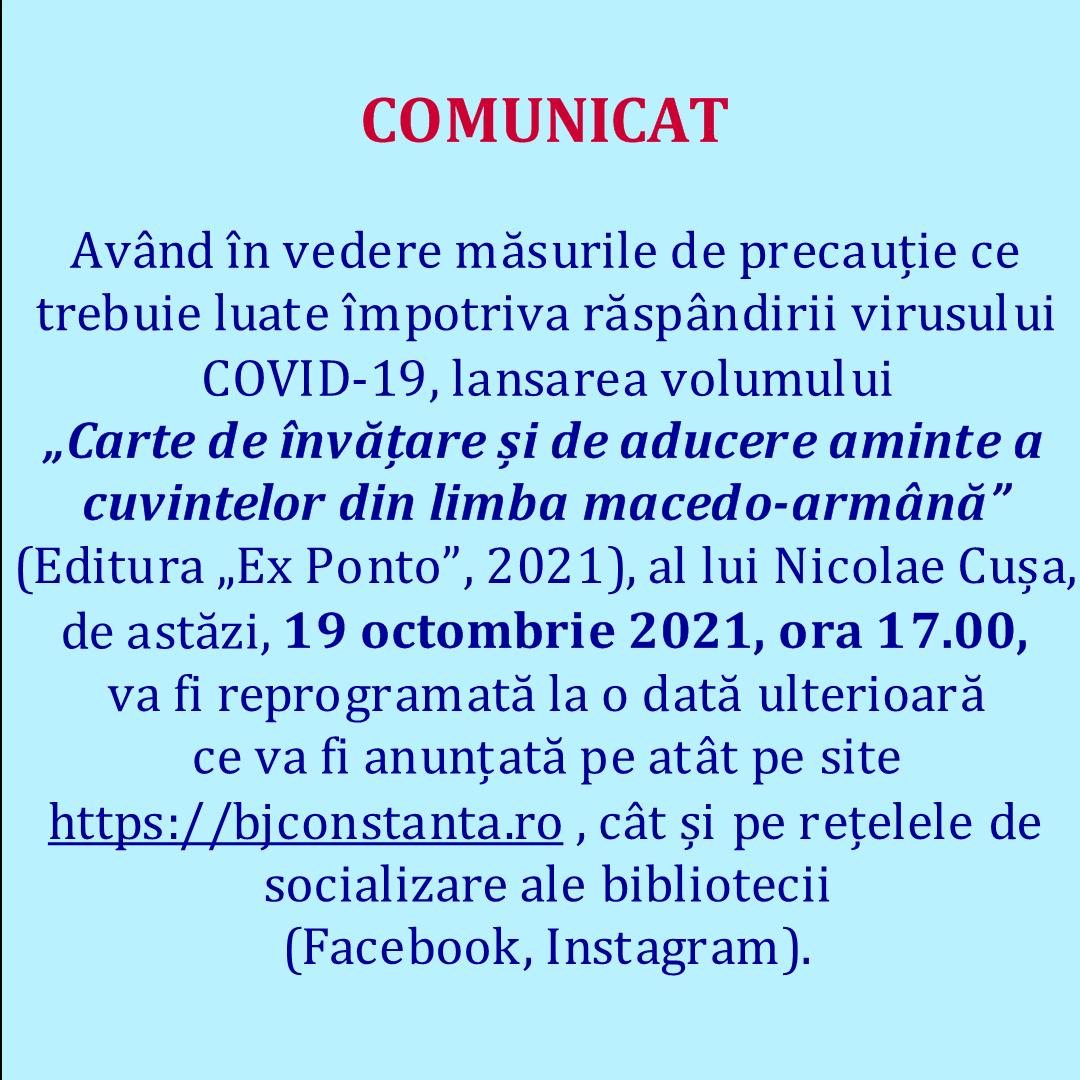 Comunicat 19.10.2021